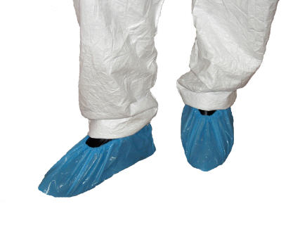 CPE Plastic Disposable Elasticated Shoe Covers in Blue