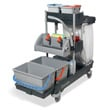 Cleanroom Twin Flat Mop Bucket Trolley & Wringer Press