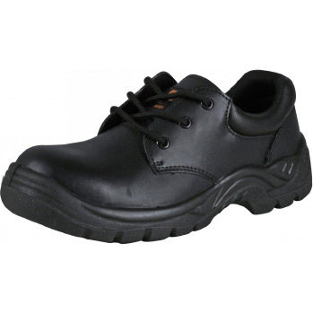 Black Leather Non-Metallic Safety Shoes - Composite Toe