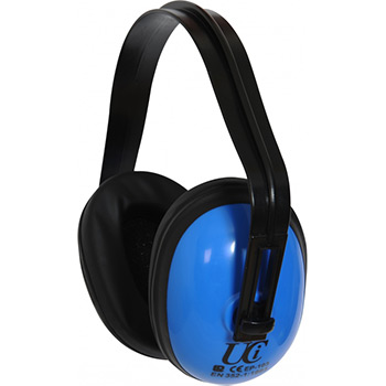 Standard blue ear defenders with adjustable headband